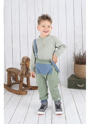 Nila Kids Koyu Yeşil Rengi Erkek Bebek Askılı Organik Pantolon NK04002KY (6 AY- 3 YAş) Yeşil